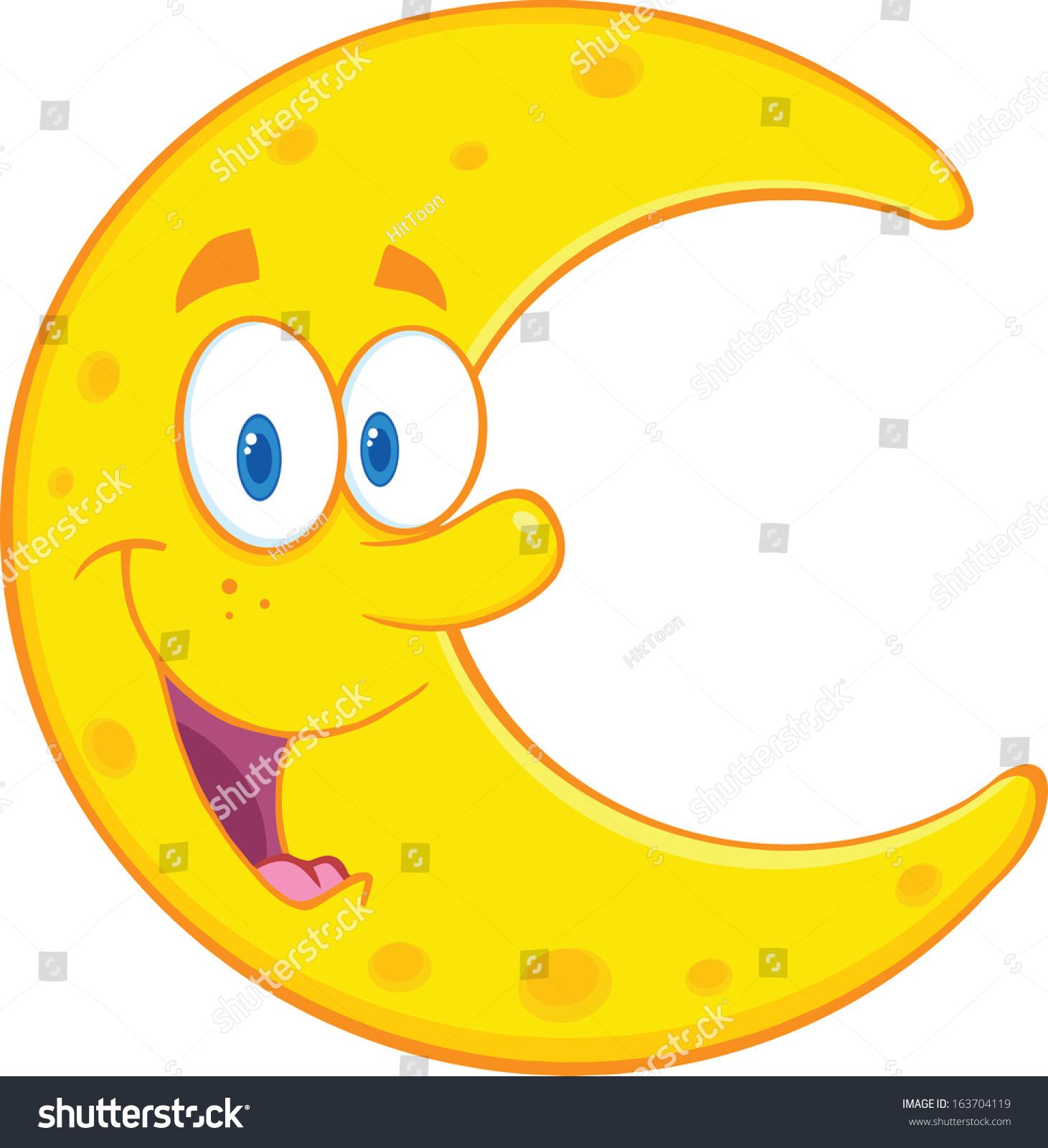 微笑的月亮卡通吉祥物的性格.矢量插图孤立在白色的