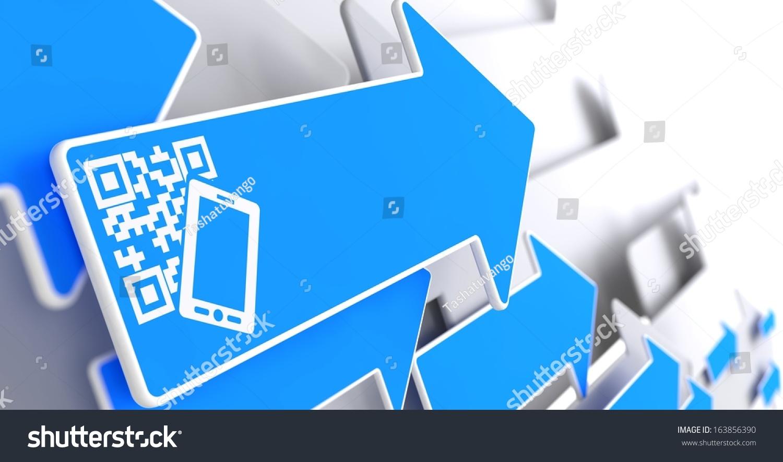 在蓝色箭头在灰色背景的智能手机图标的qr码.-商业