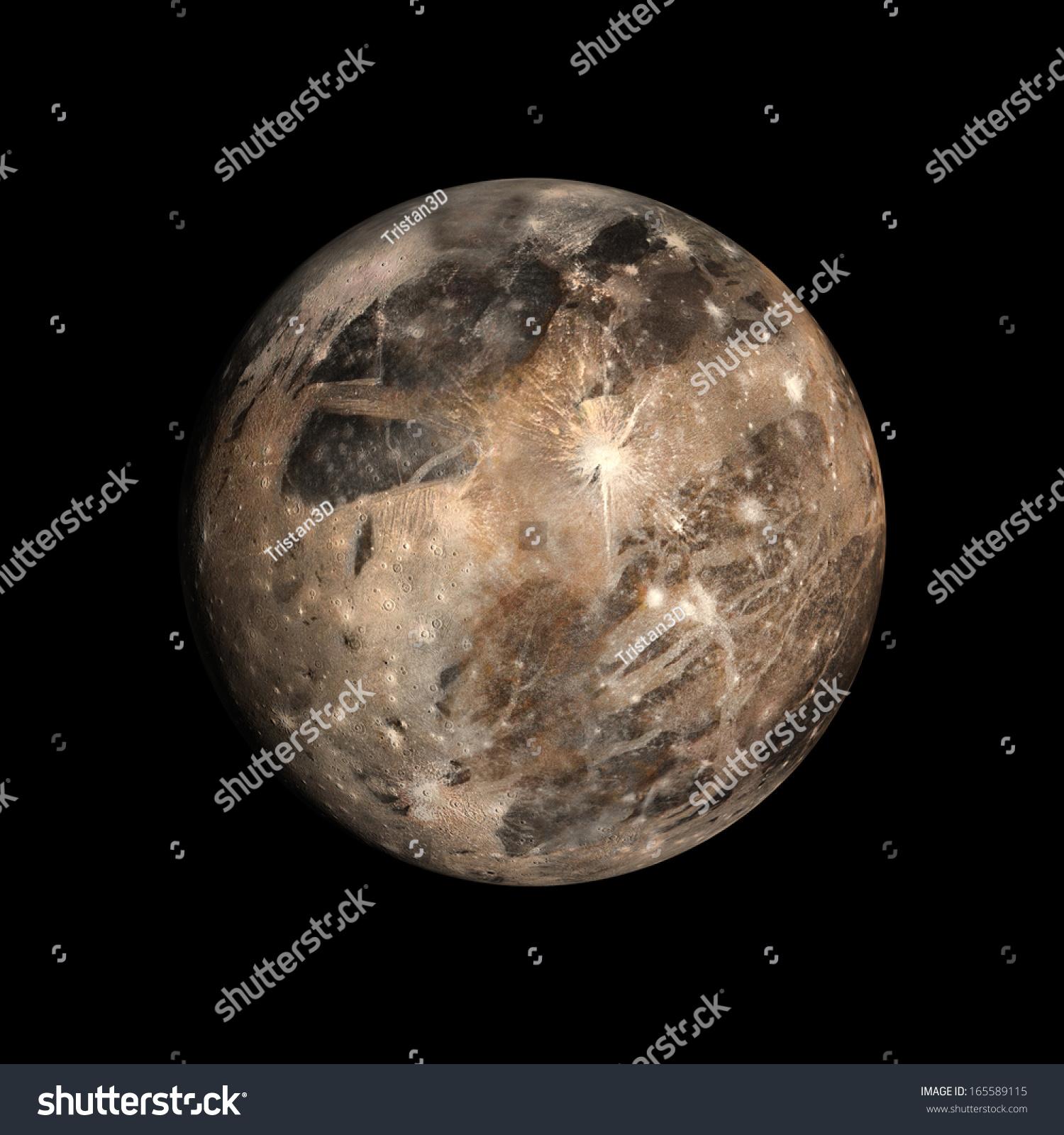 木星的月亮伽倪墨得斯的形象呈现在干净的黑色背景