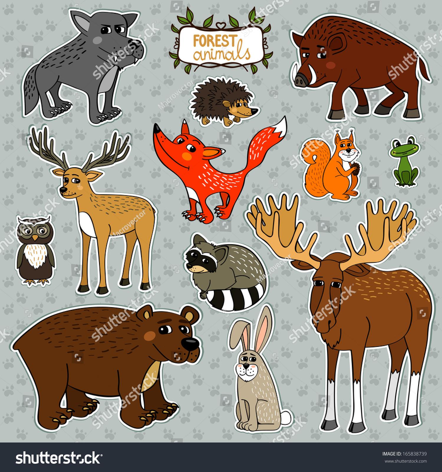 森林动物猫头鹰鹿福克斯设置说明-动物/野生生物,符号