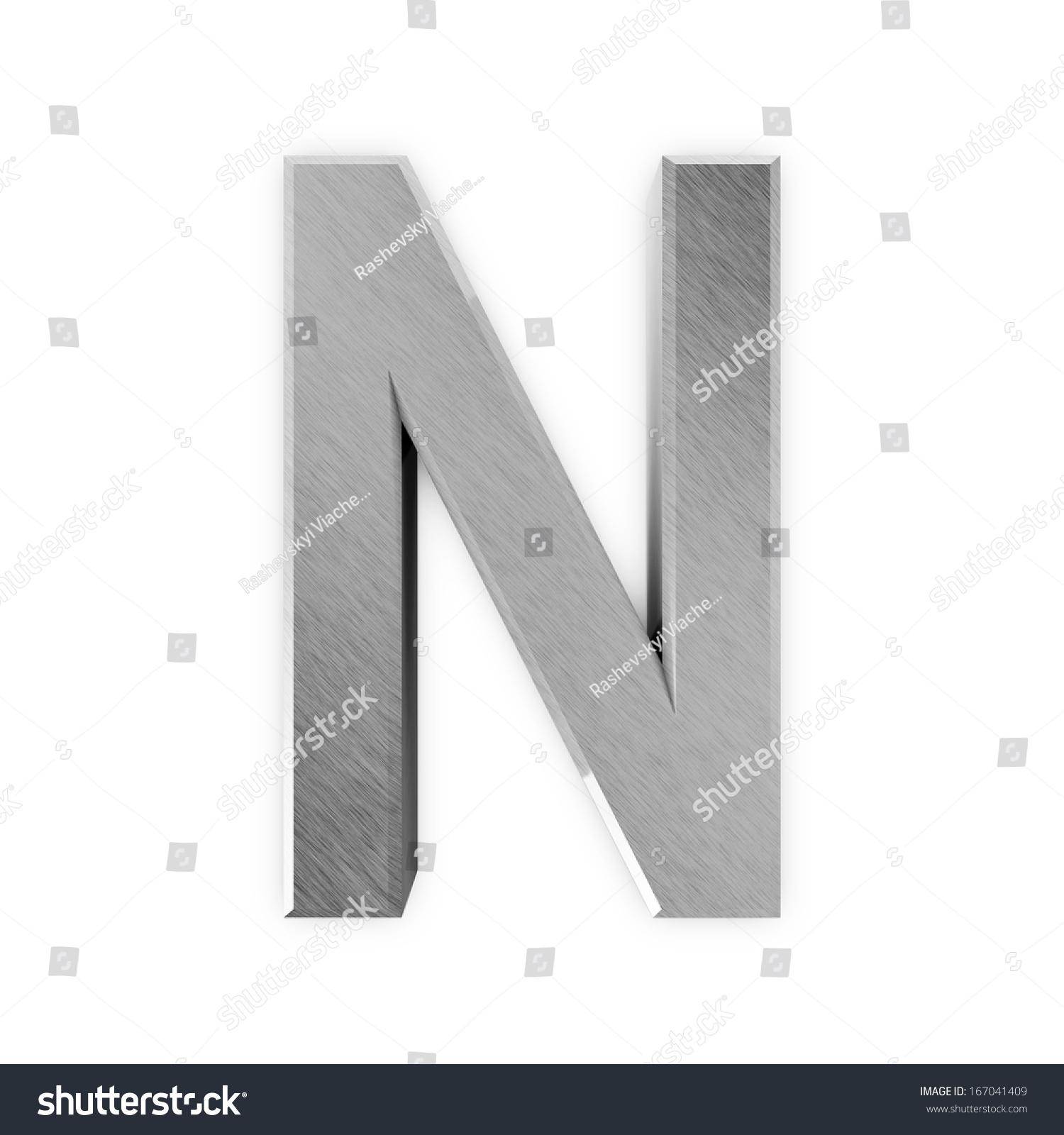 金属字母孤立在白色背景(字母n)-背景/素材