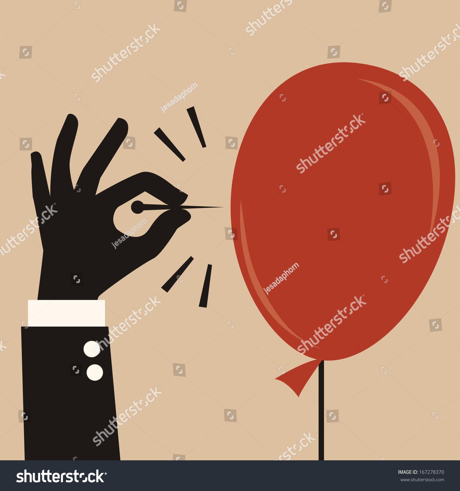 商人的手把锋利的针戳破气球.抽象业务概念风险或危险图片