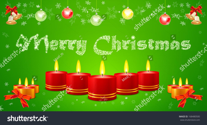 圣诞贺卡上有蜡烛,球和金铃-背景/素材,假期-海洛创意