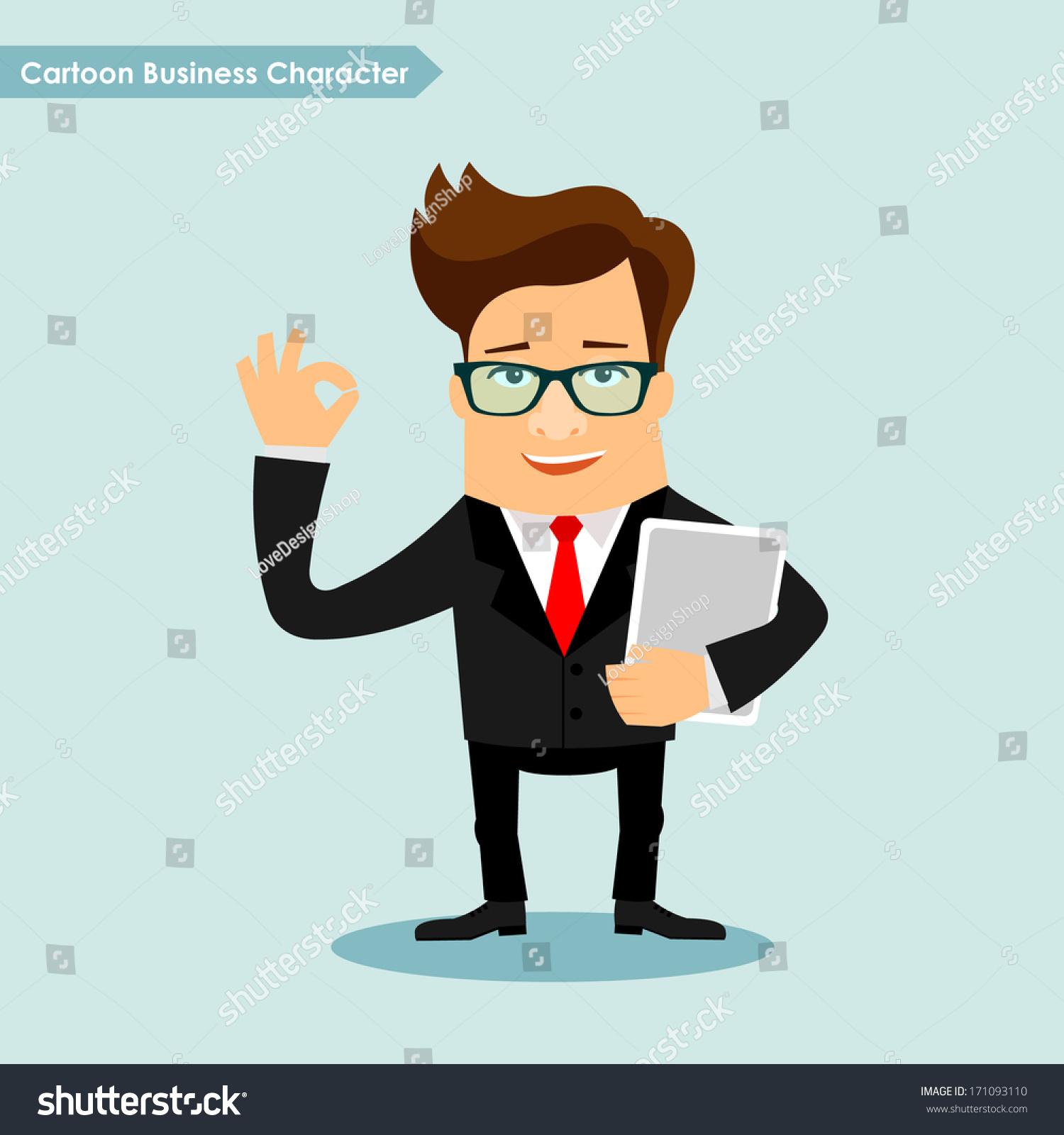 商人卡通人物矢量插图-商业/金融,人物-海洛创意()-合