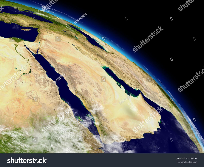 阿拉伯半岛地球上从空间.高度详细的地球表面和云