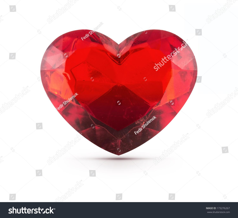 红色的心宝石孤立的背景-物体,符号/标志-海洛创意()