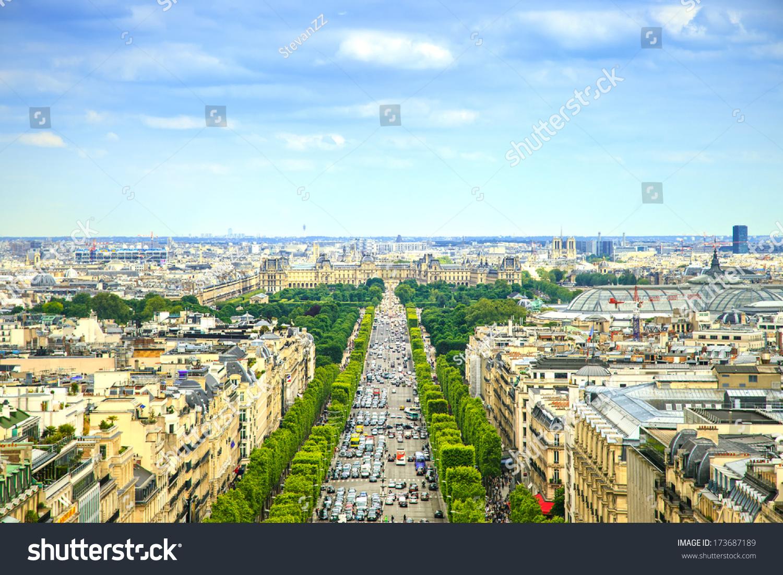 全景的俯瞰巴黎香榭丽舍大道.法国,欧洲.-建筑物/地标