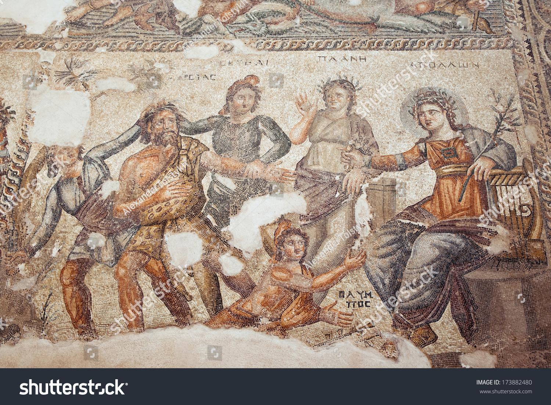 帕福斯,塞浦路斯- 3月20日:古希腊镶嵌在帕福斯考古公园3月20日,2013