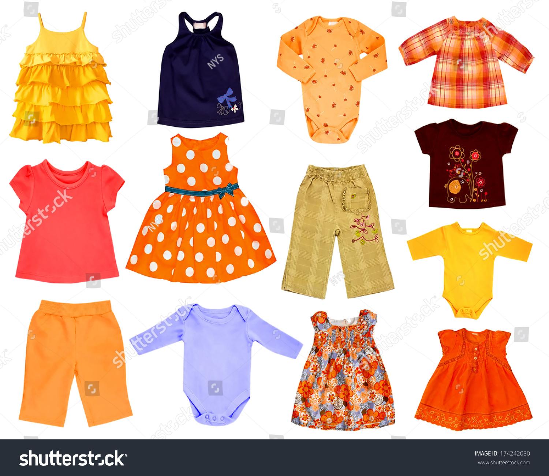 拼贴的儿童衣服孤立在白色的图片