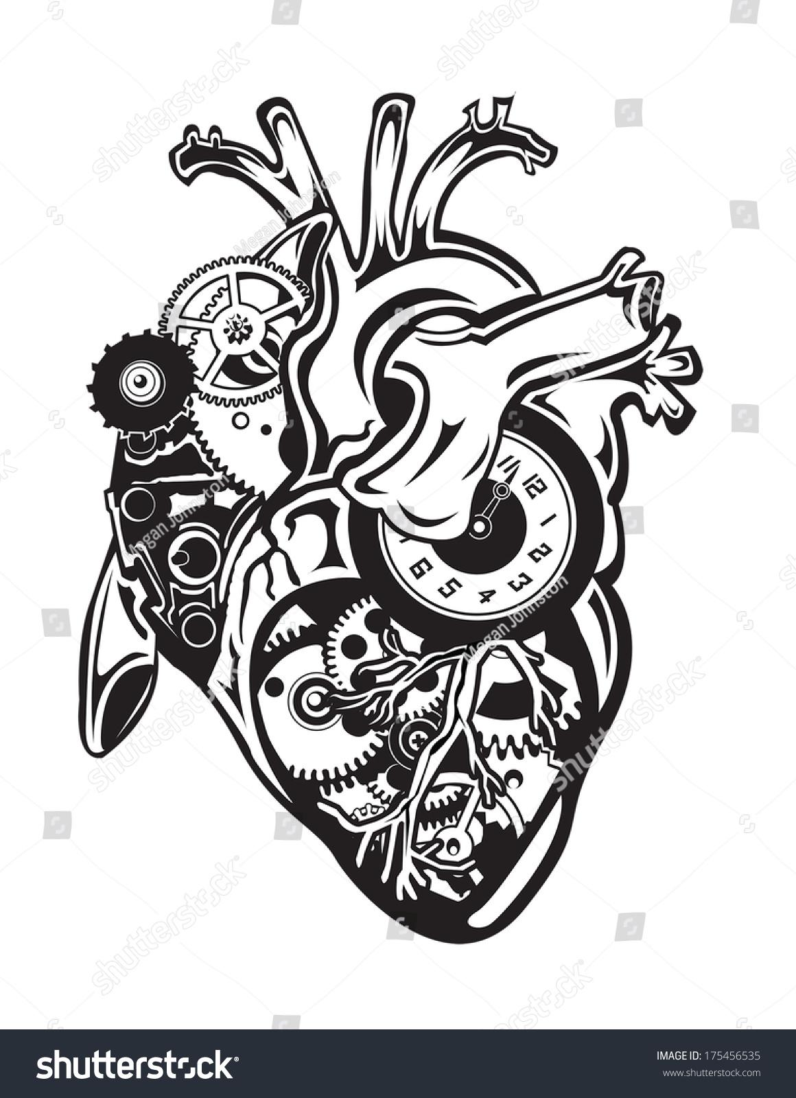 蒸汽朋克人类心脏与齿轮和时钟-医疗保健,科技-海洛()图片
