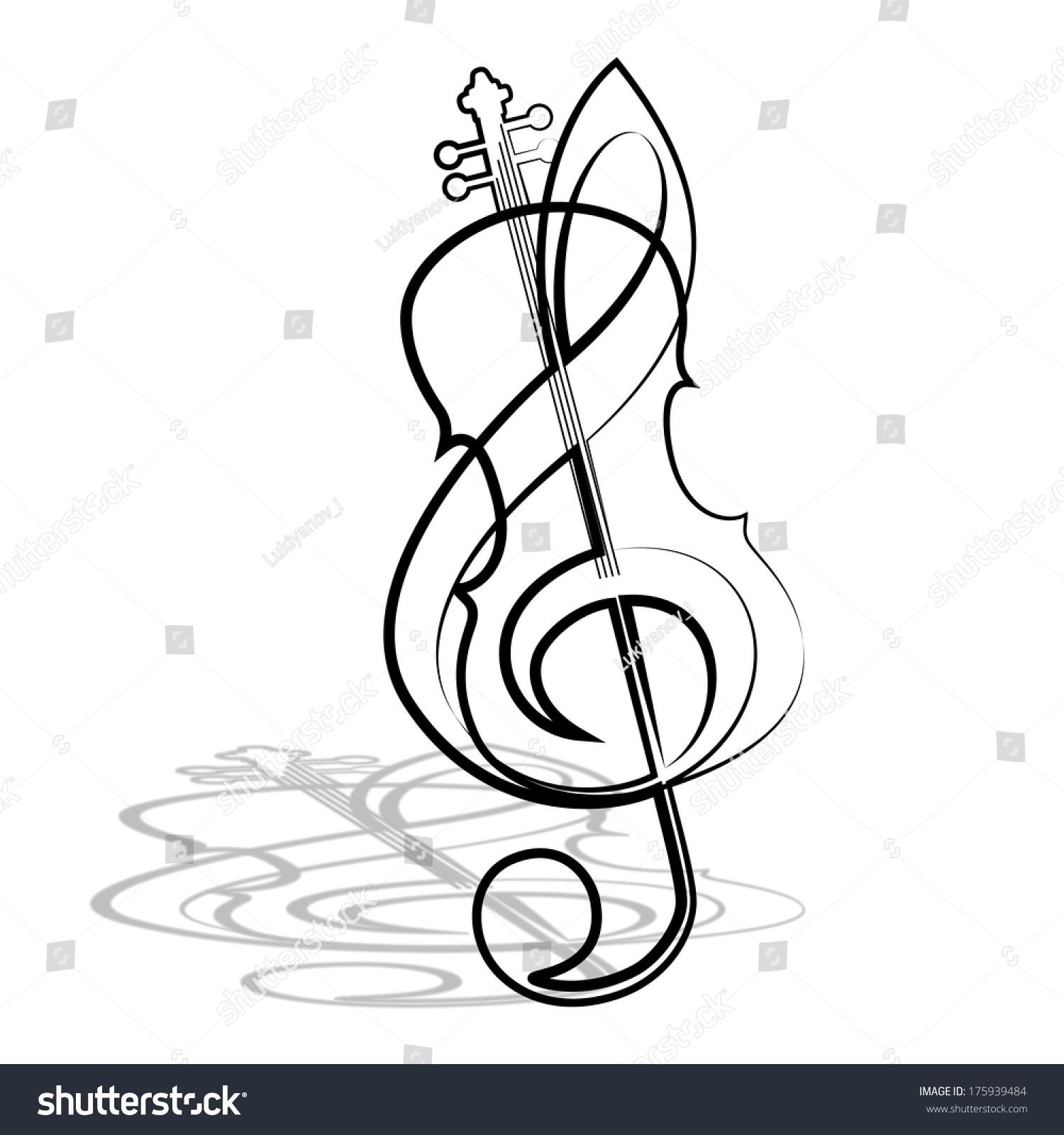 小提琴和高音谱号.插图.-背景/素材,符号/标志-海洛()
