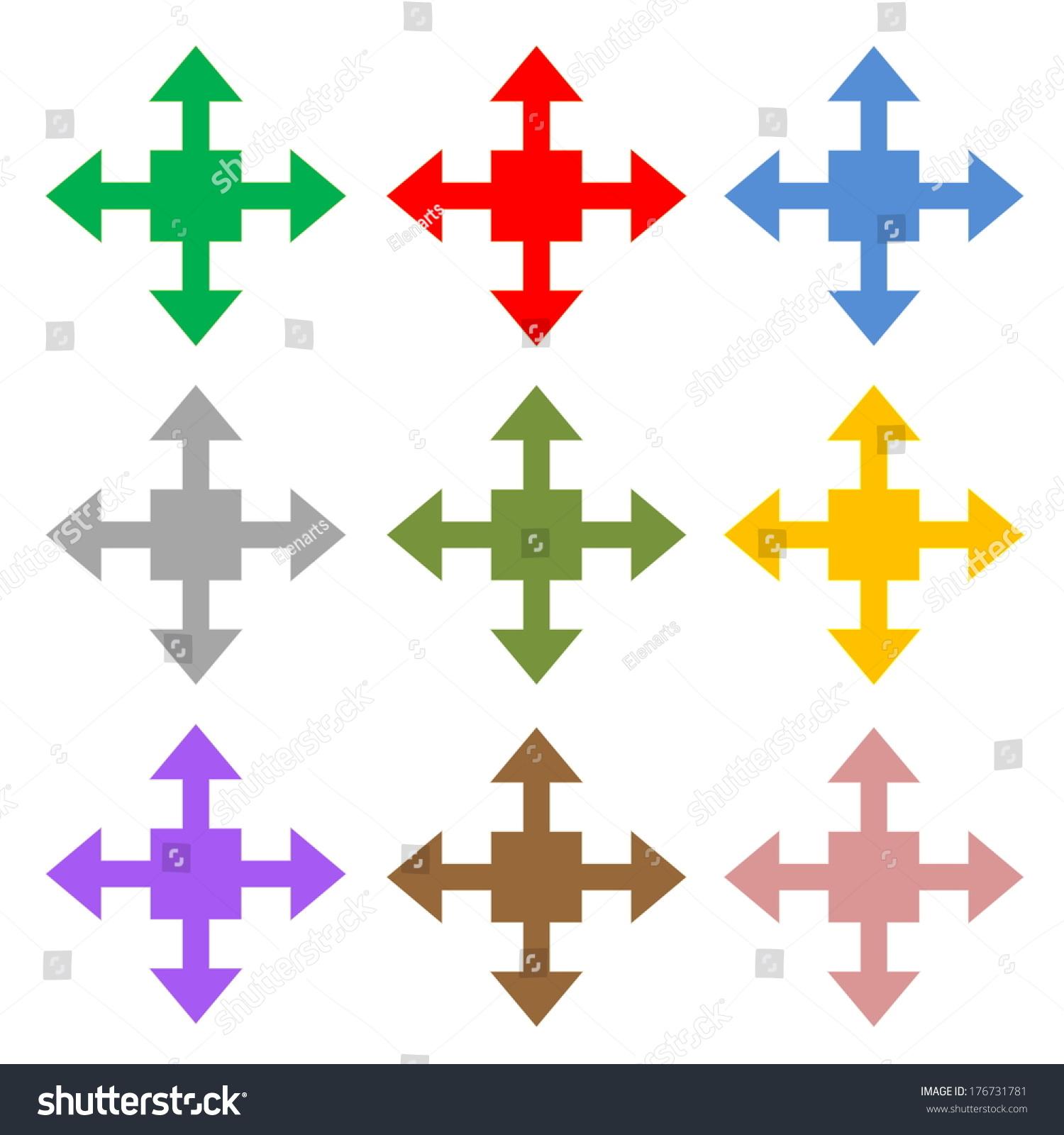 五彩的四个箭头显示在白色背景不同的方向