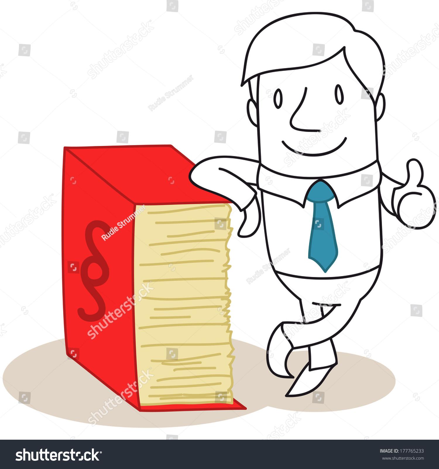 一个黑白卡通人物的插图:自信的律师,学习巨大的规约