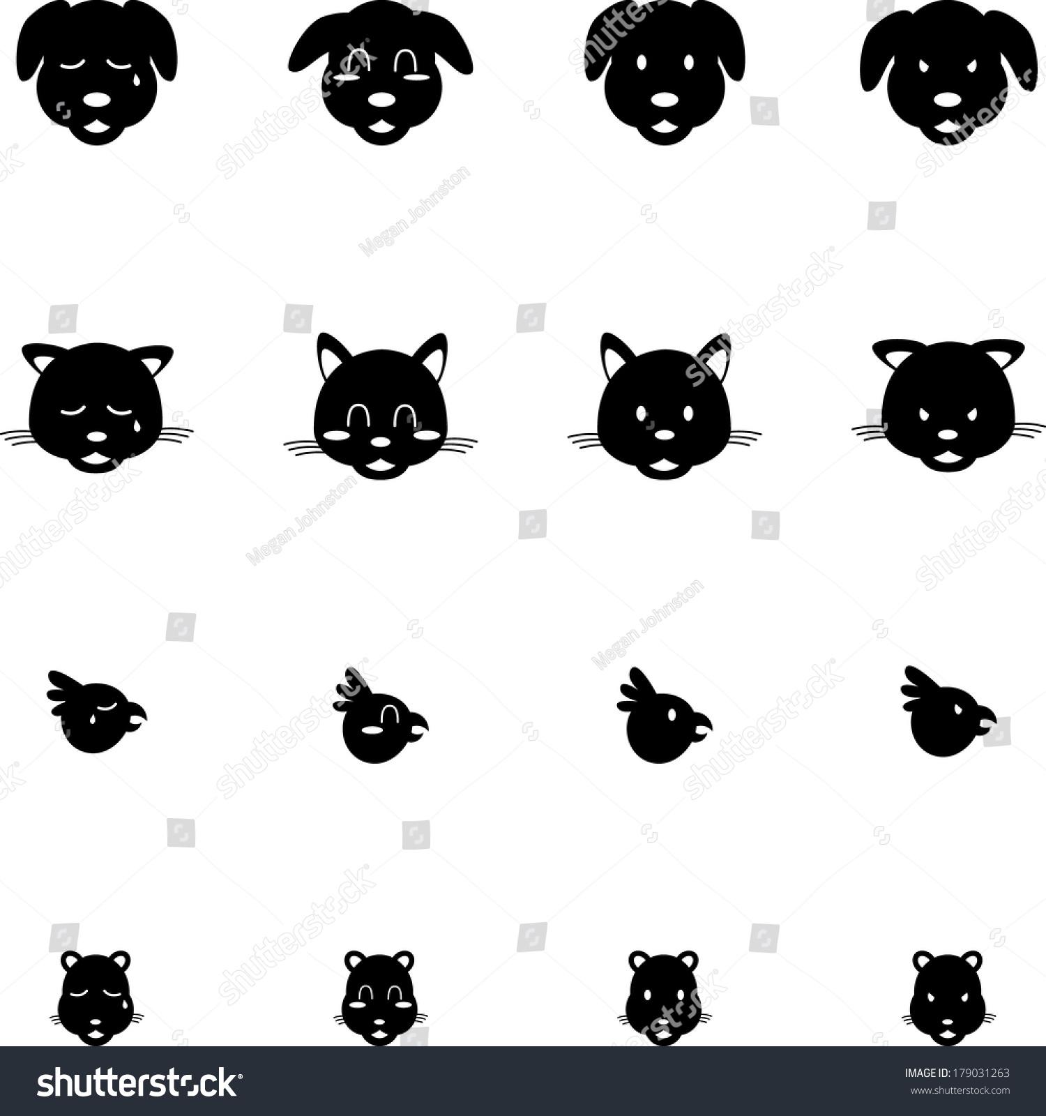 可爱的宠物猫狗鸟仓鼠表情图标集