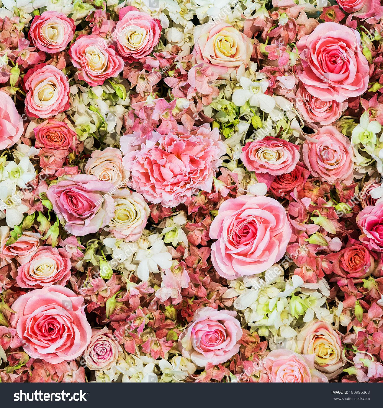 美丽的花朵背景的婚礼现场