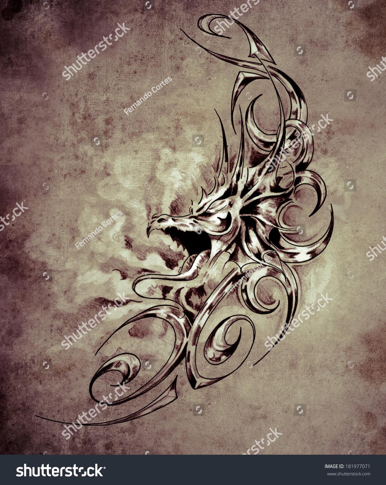 中世纪龙的纹身艺术,装饰图片