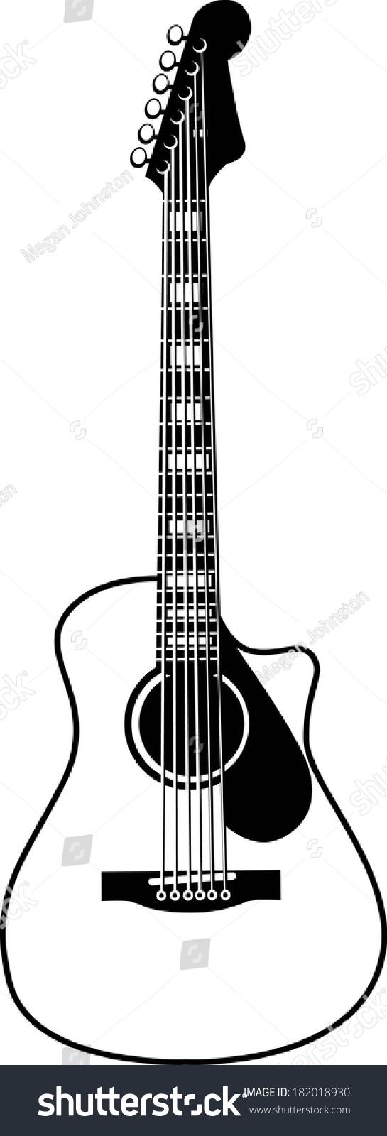 黑色和白色的木吉他向量