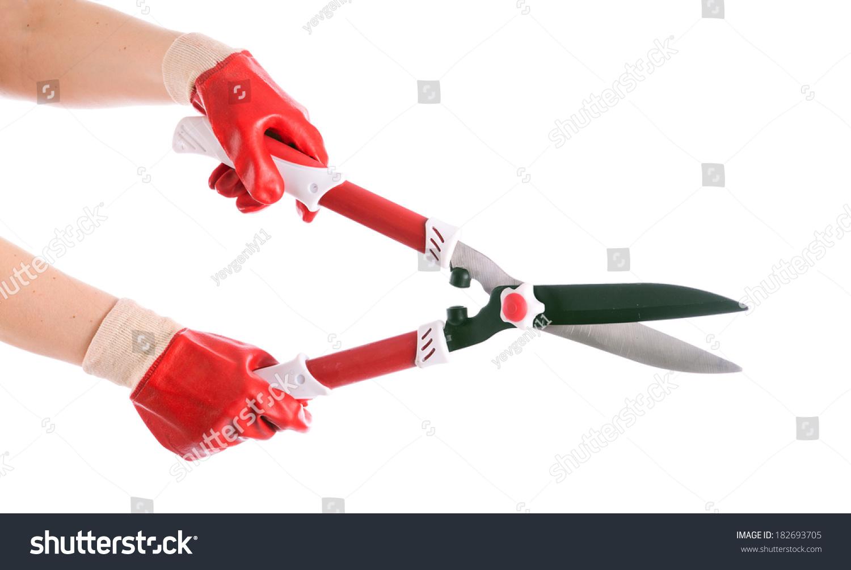 花园大剪刀手上的园丁.隔离-背景/素材,符号/标志-()