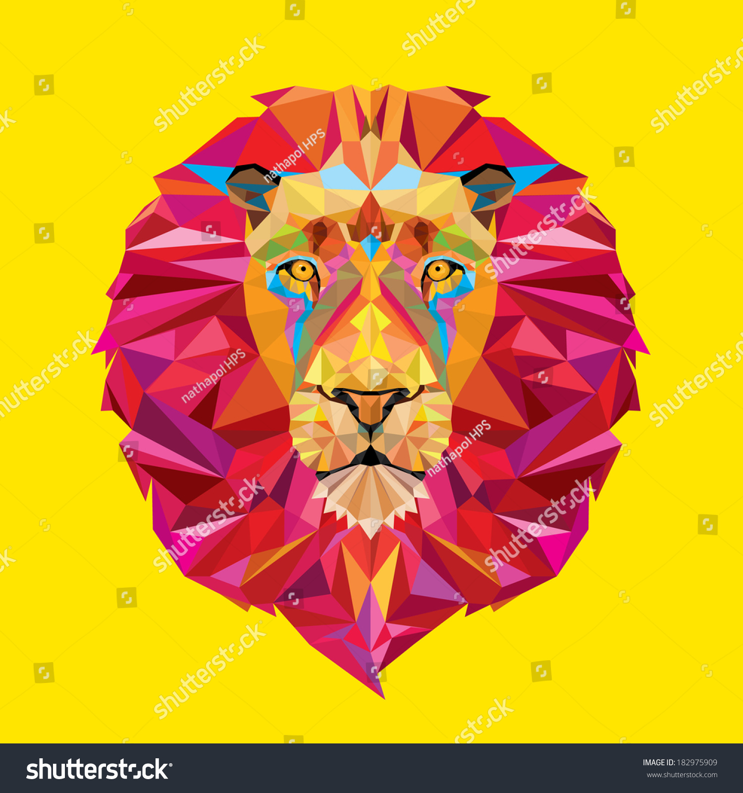 狮子的头几何模式-动物/野生生物-海洛创意(hellorf)