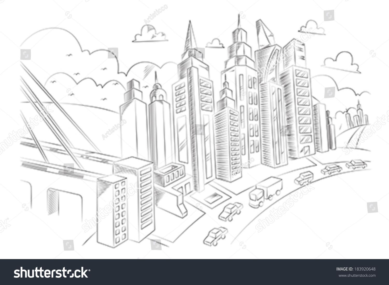 一个向量的手绘插图城市生活-建筑物/地标-海洛创意