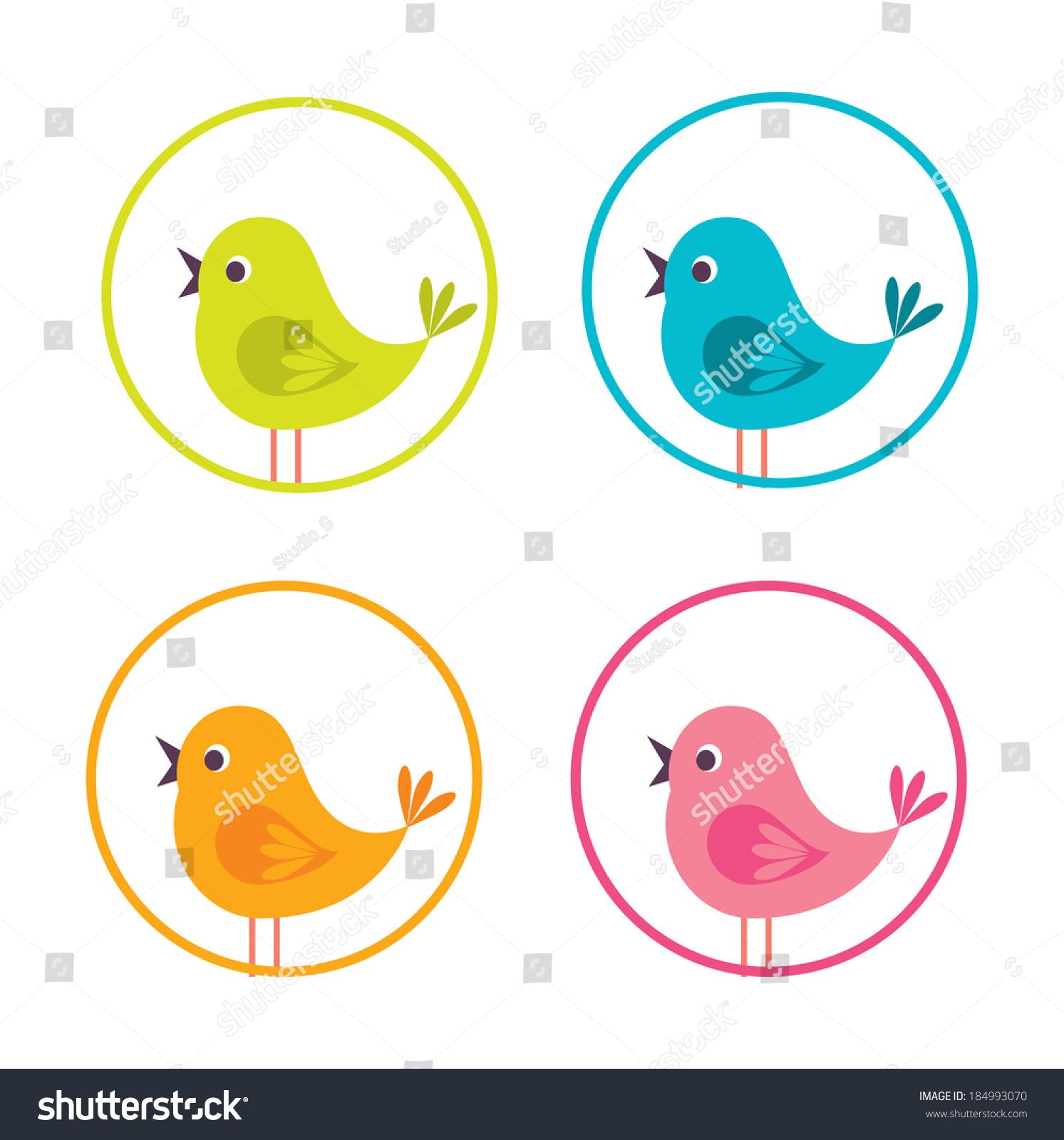小鸟在白色背景矢量图设计-动物/野生生物