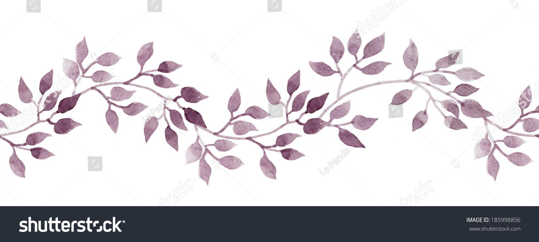 无缝带框架手画蜡笔水彩树叶.重复的模式.-背景/素材