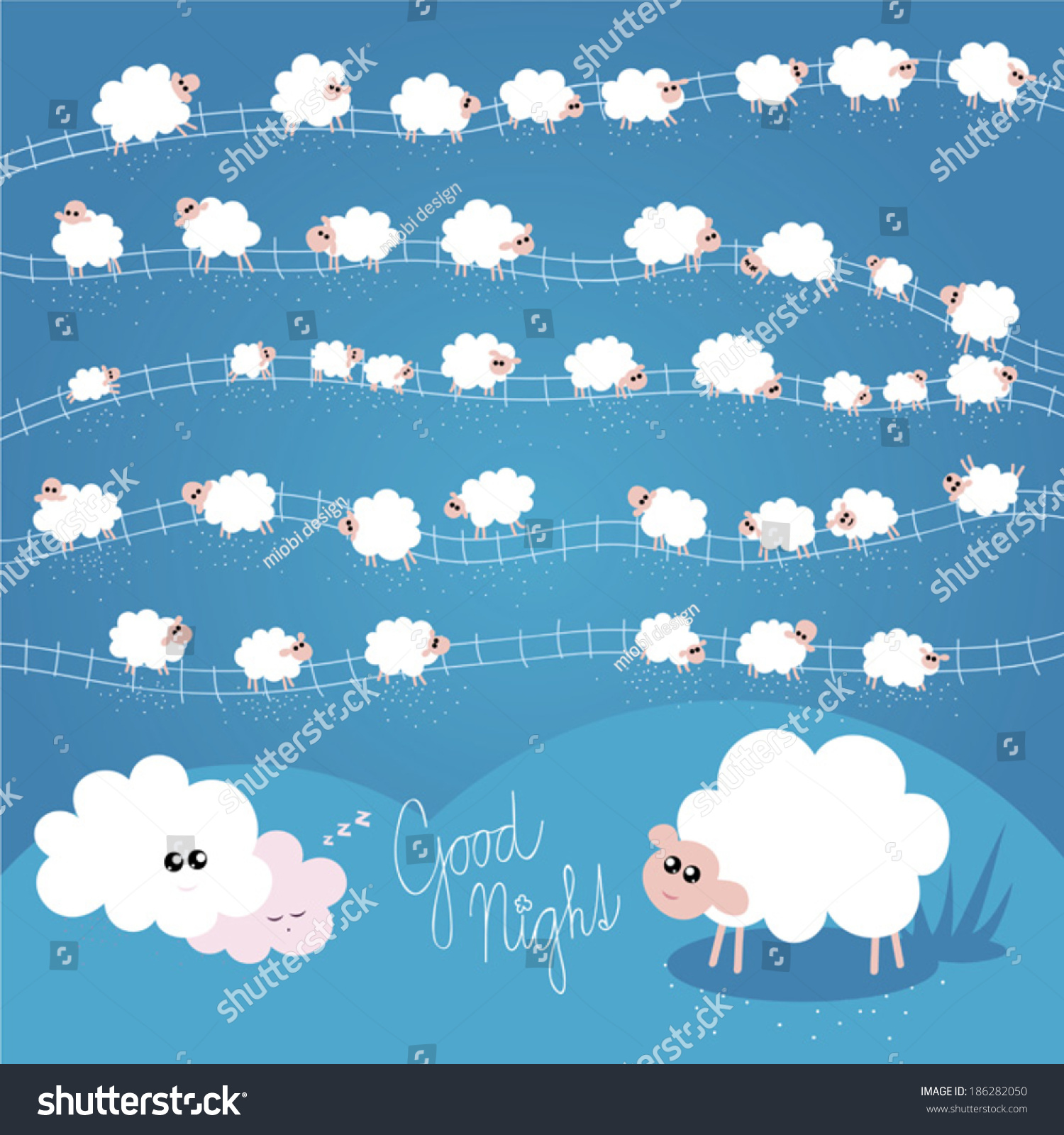 晚安矢量插图为孩子单独的羊-动物/野生生物