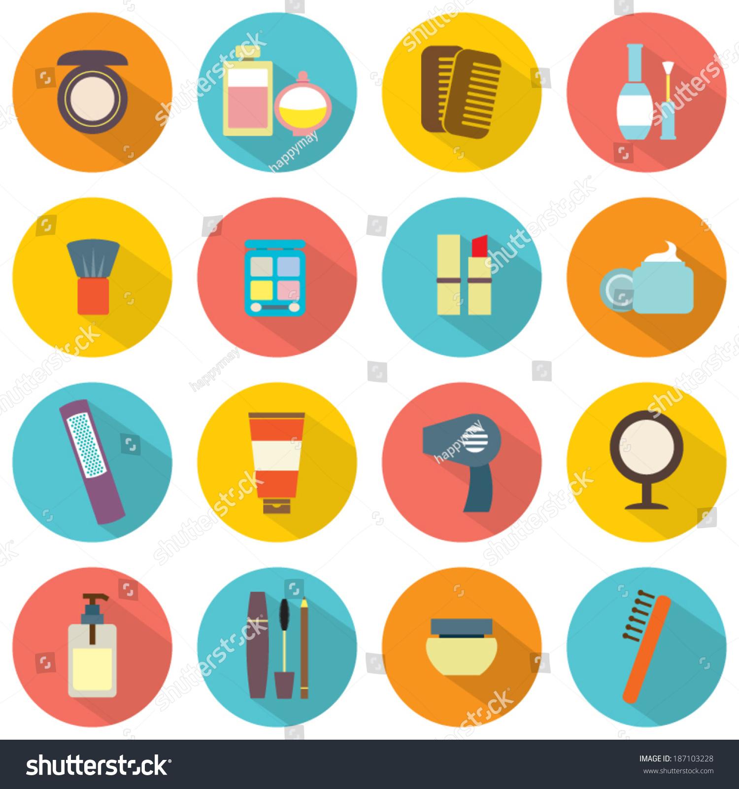 平面设计色彩化妆品图标