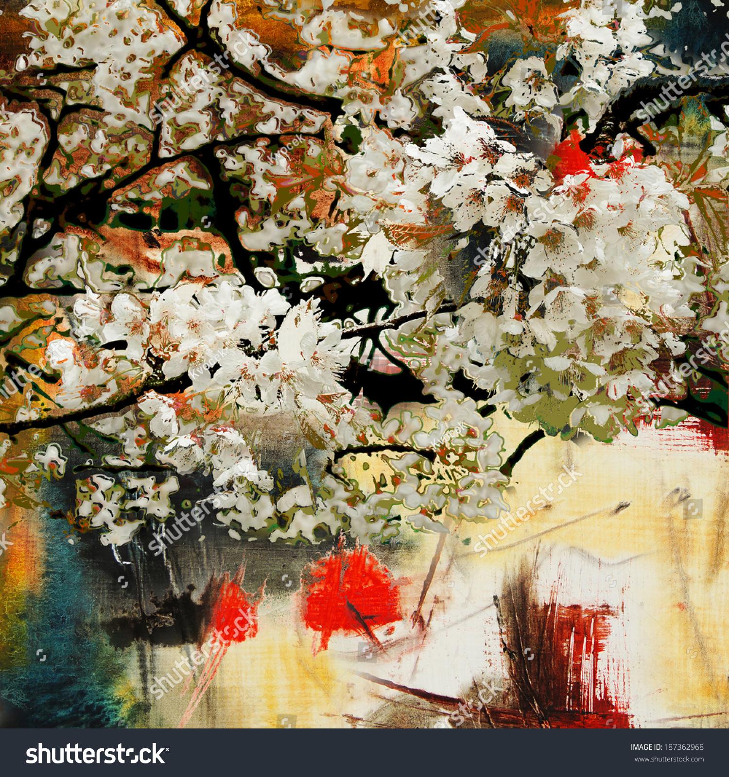 春天的主题,油画和混合媒体艺术背景