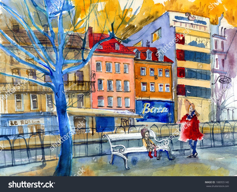 捷克对街道风景如画的水彩画海报牌背景-建筑物/地标