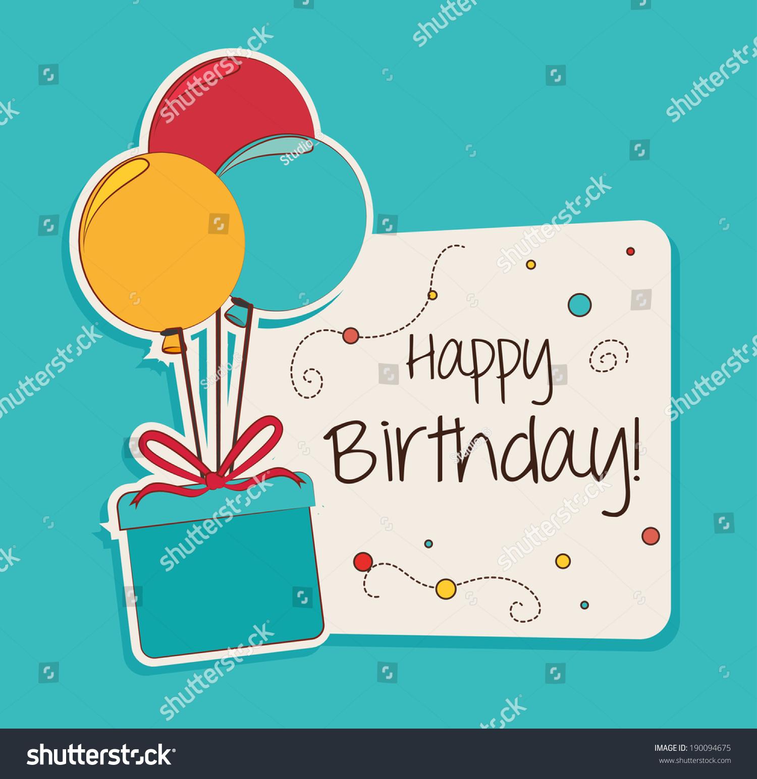 生日快乐在蓝色背景设计,矢量插图