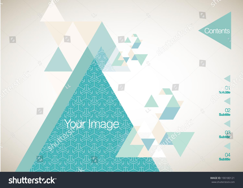 向量手册/目录小册子设计模板-蓝色三角形-背景/素材