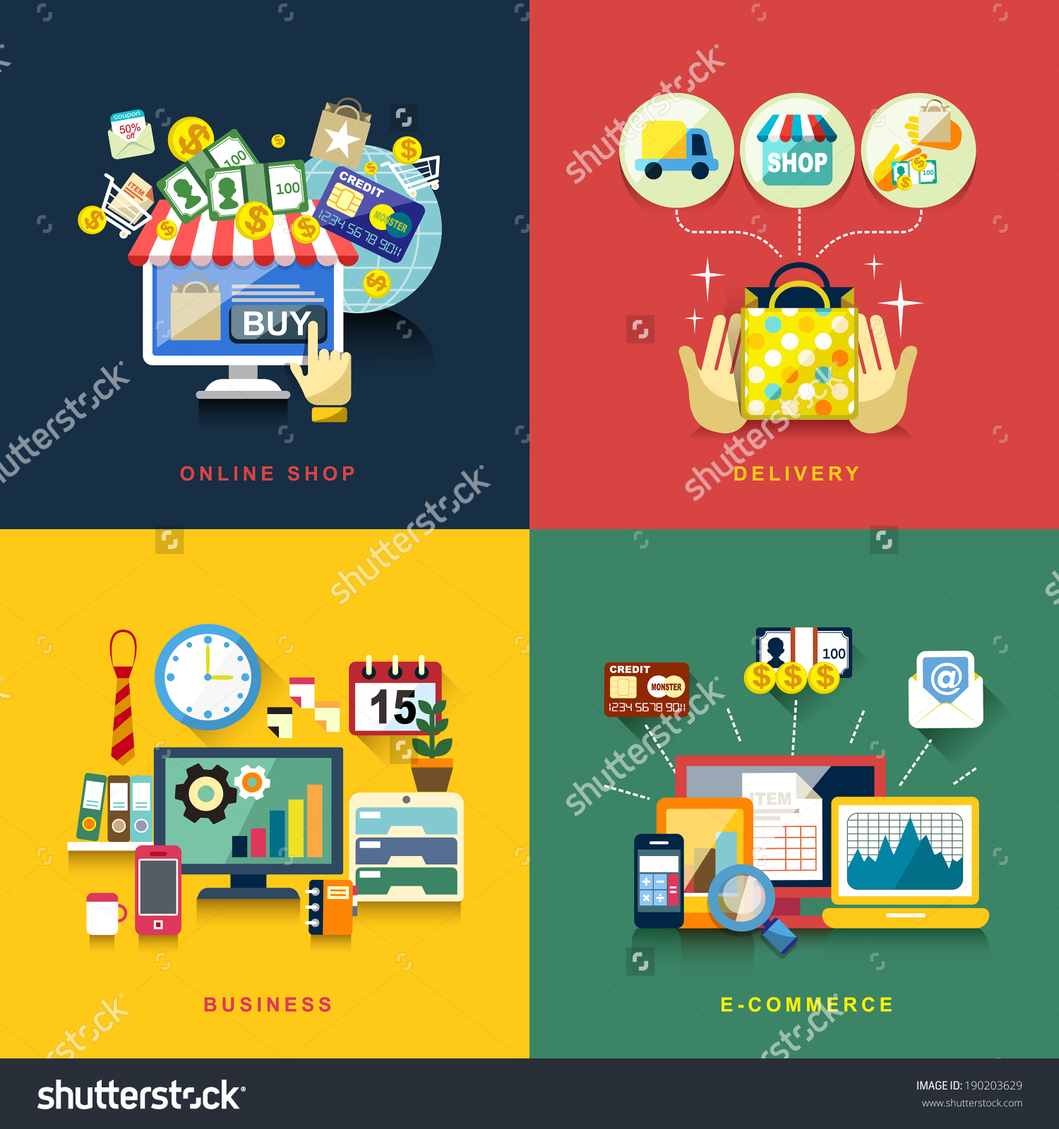 平面设计概念的电子商务