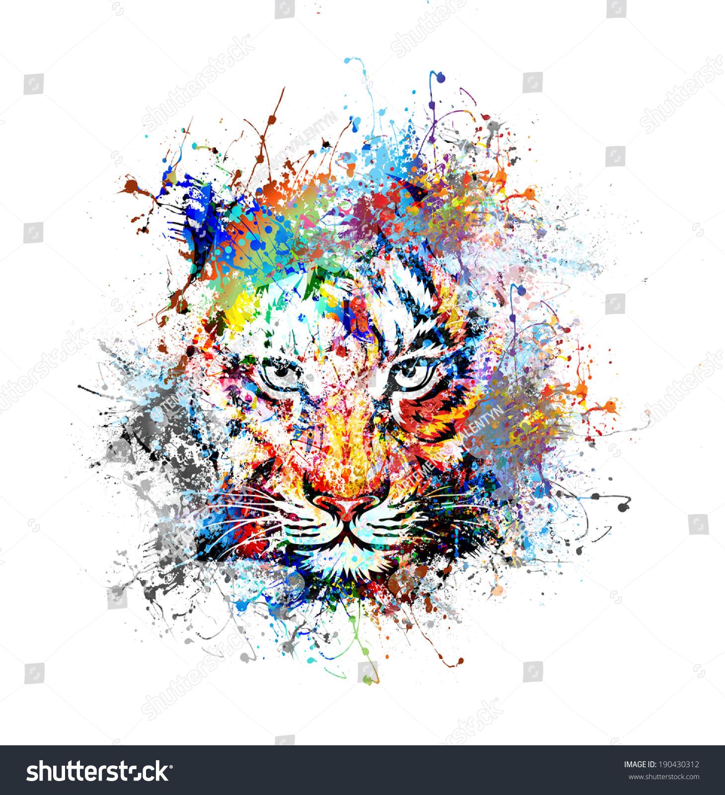 老虎-动物/野生生物,抽象-海洛创意(hellorf)-中国