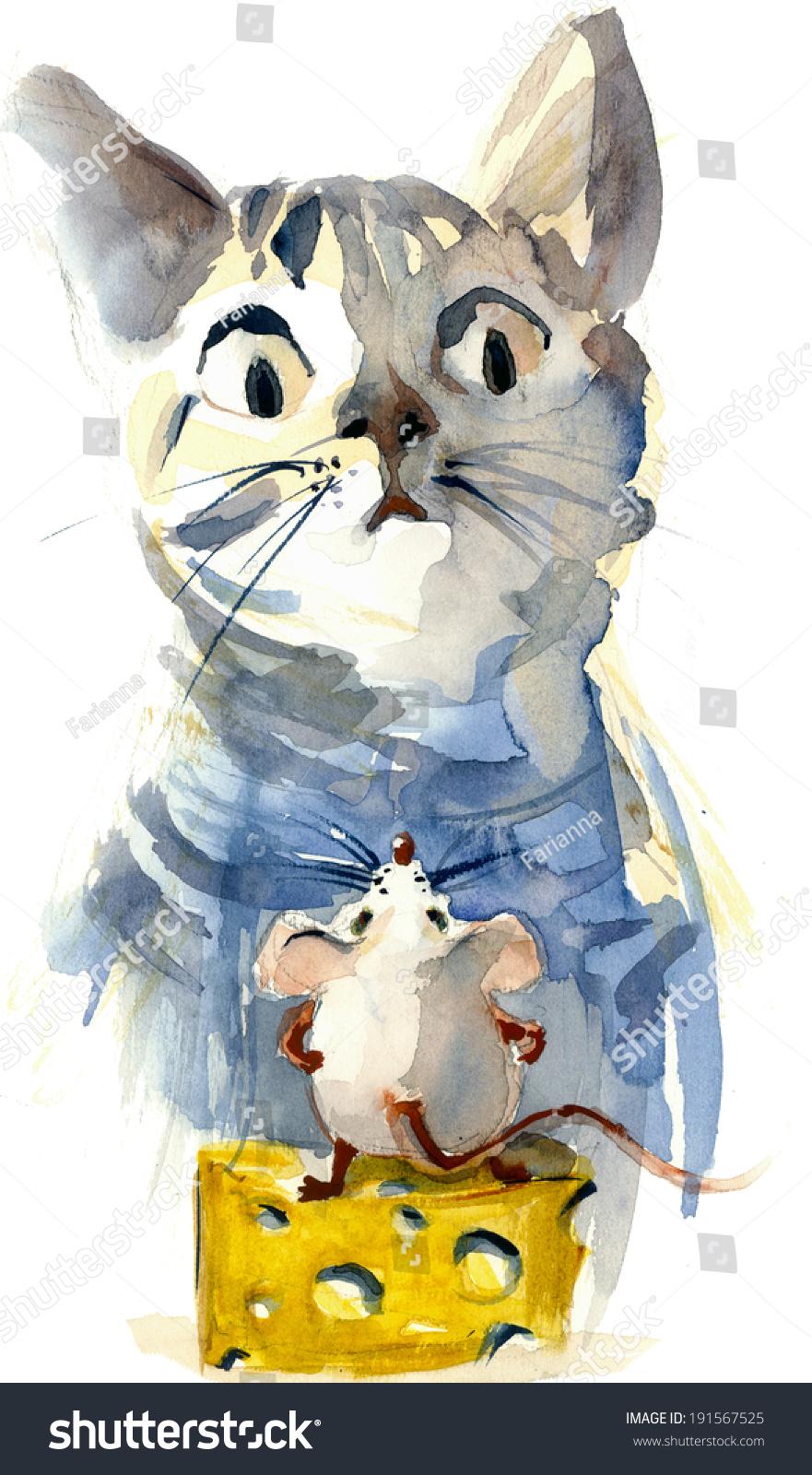 有趣的卡通猫捉老鼠的奶酪水彩插图绘画-动物/野生