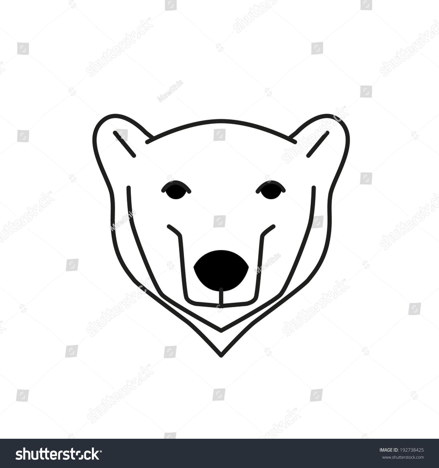 北极熊黑线与白色背景矢量图-动物/野生生物