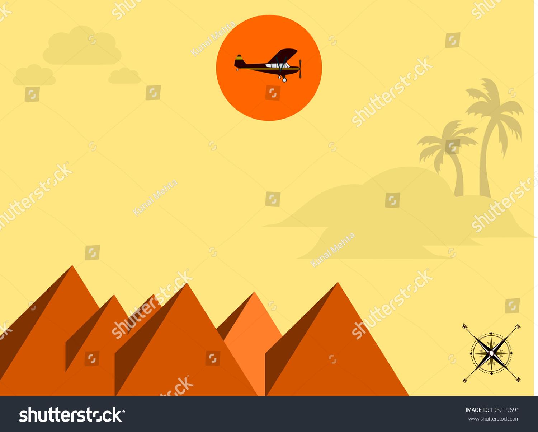 埃及旅游平面设计插图与棕榈树,金字塔和一架飞机