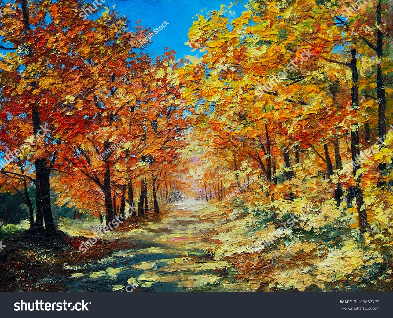 油画风景--秋天的森林