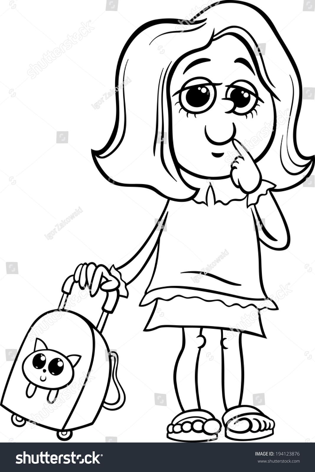 黑白漫画插图的小学生的女孩包着色书-教育,人物-海洛