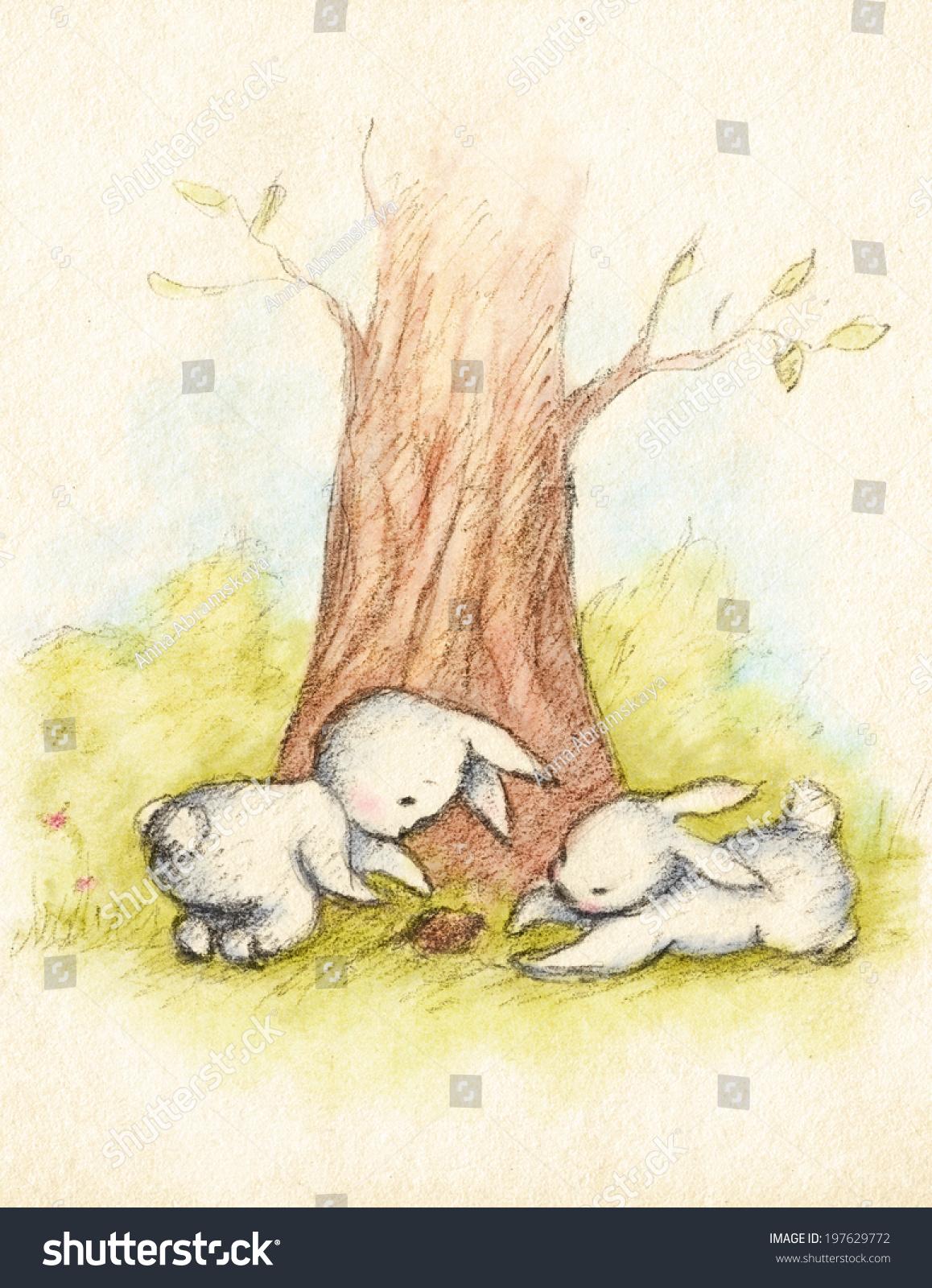 画两个小兔子在树下-动物/野生生物