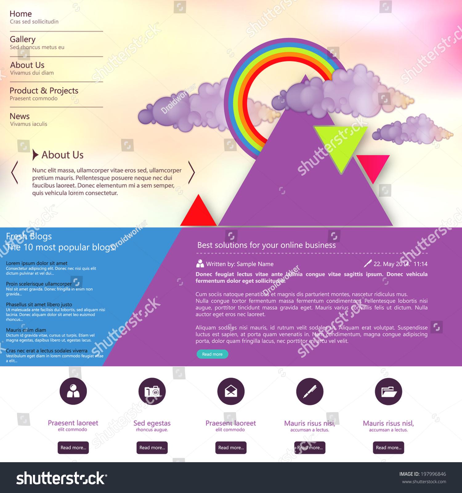网站设计模板与抽象的三角形设计-背景/素材,商业/-()