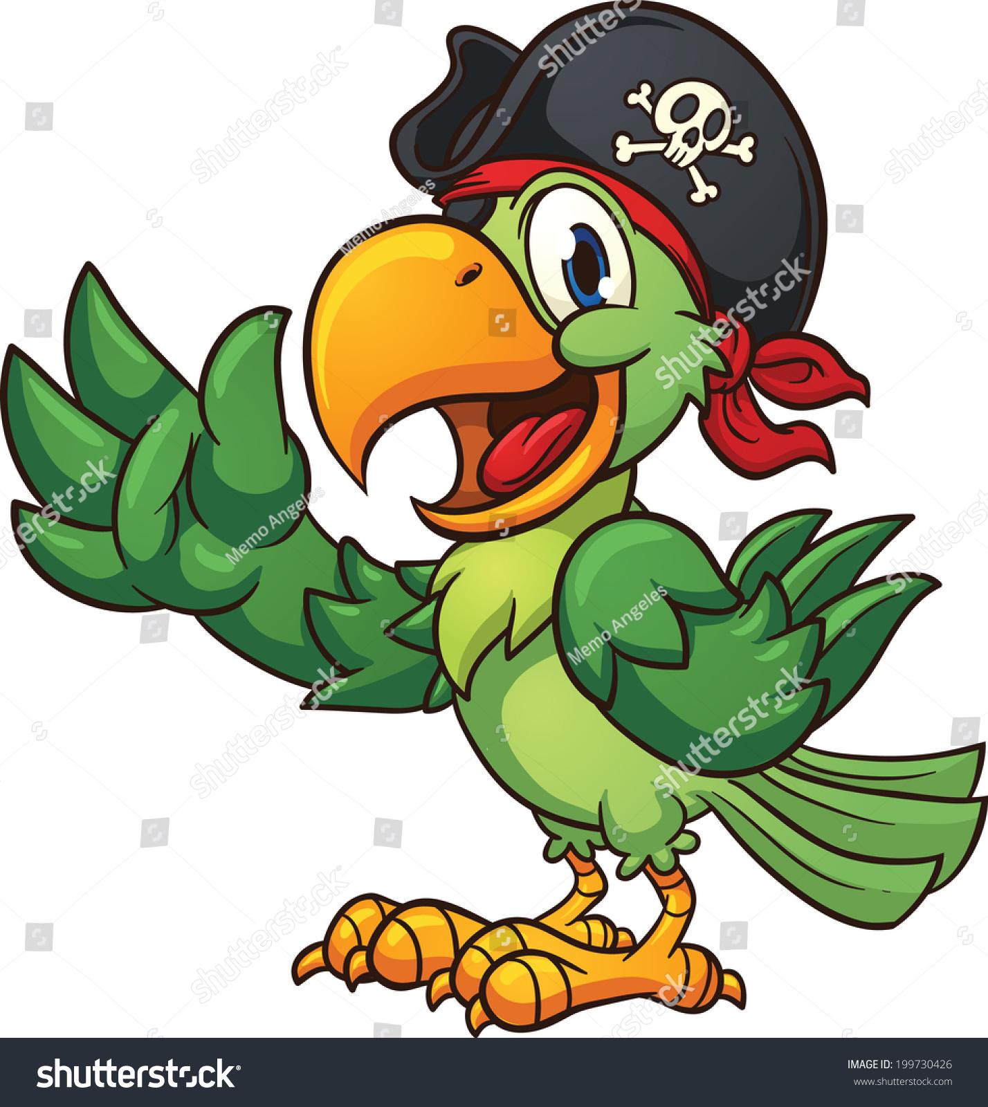 卡通海盗鹦鹉.使用简单的梯度向量剪贴画插图.所有在一个层.