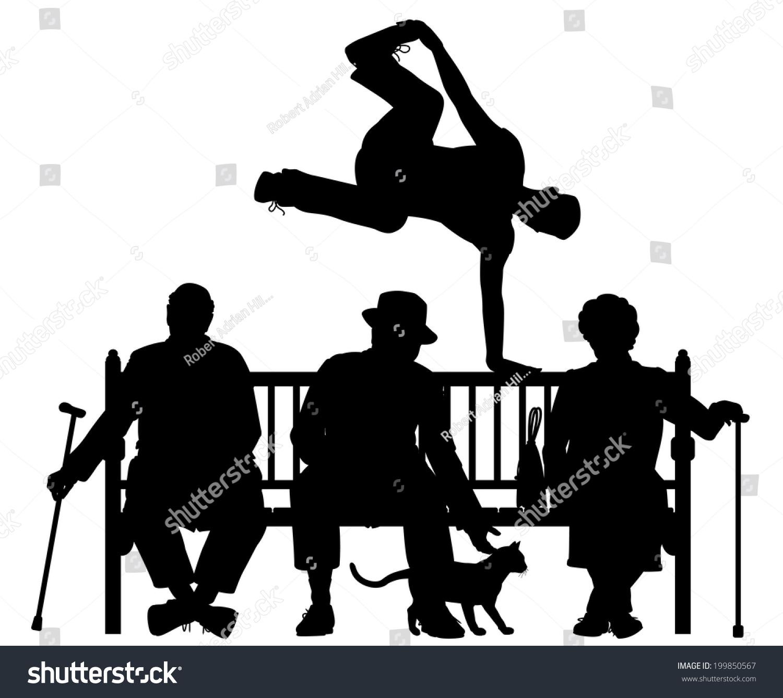可编辑的矢量剪影的年轻人已经超过三个老人在公园的长椅上所有元素作