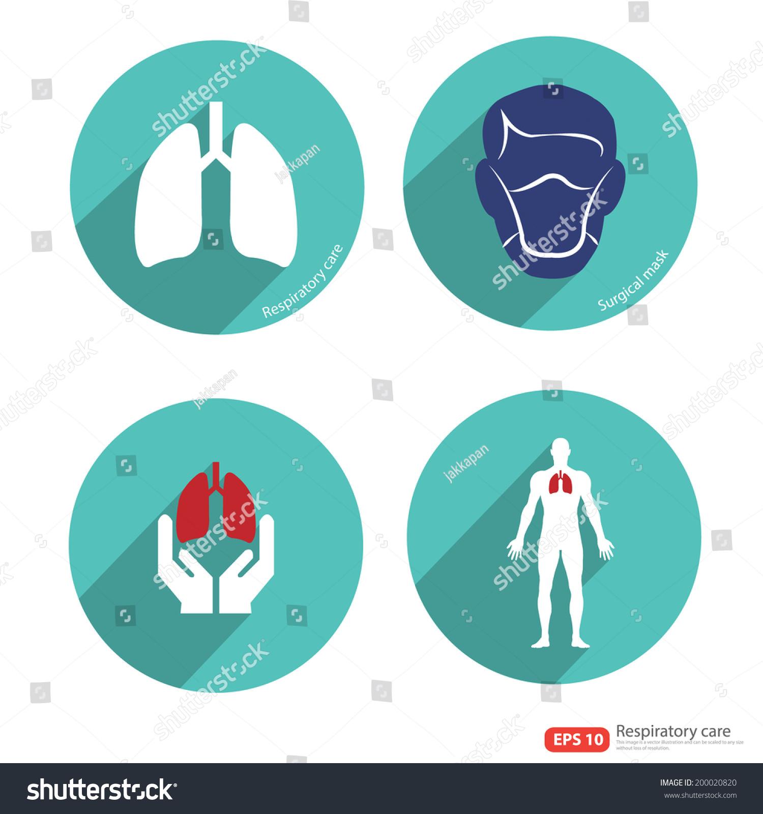 呼吸系统图标矢量与阴影-医疗保健,符号/标志-海洛()
