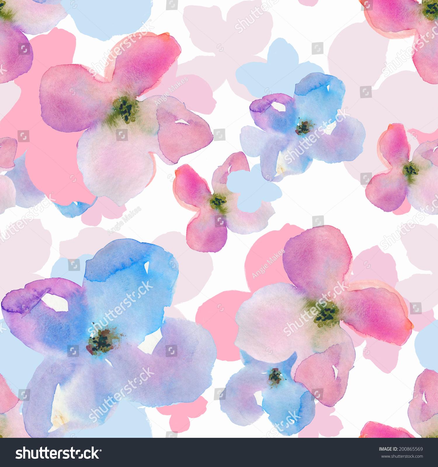 重复水彩花朵图案.现代水彩花卉背景模式.-背景/素材
