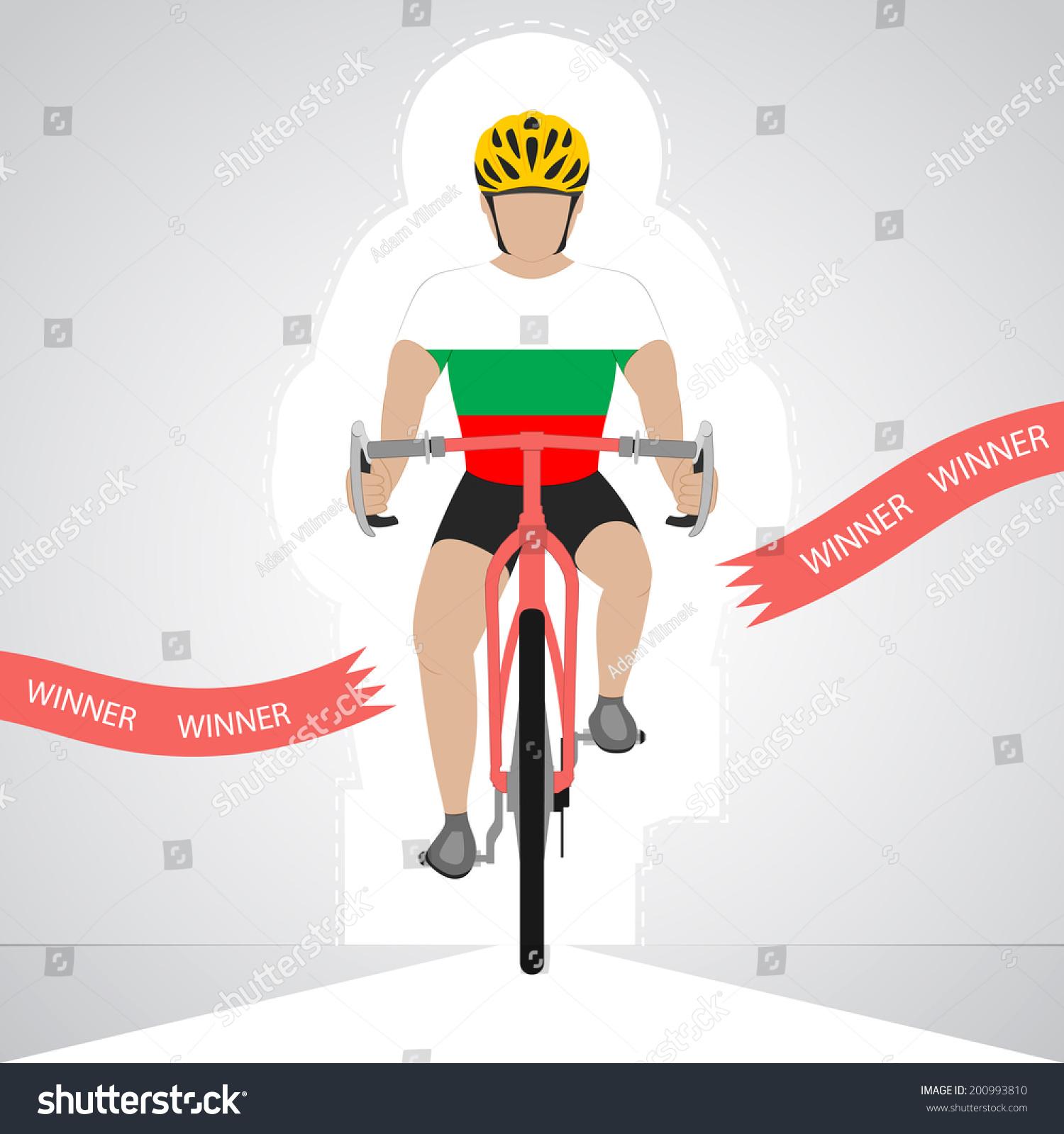 保加利亚自行车前把冲过终点红色向量孤立的插图