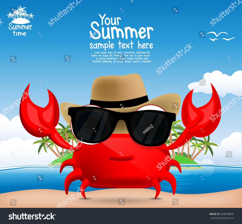 夏天的背景,一个可爱的卡通蟹-动物/野生生物