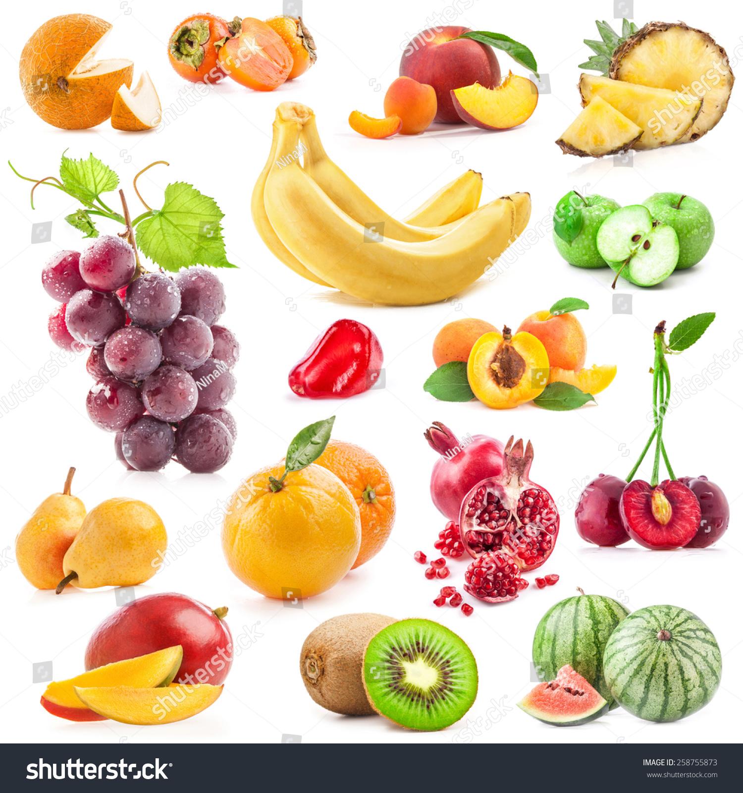 白底分离的水果-背景/素材