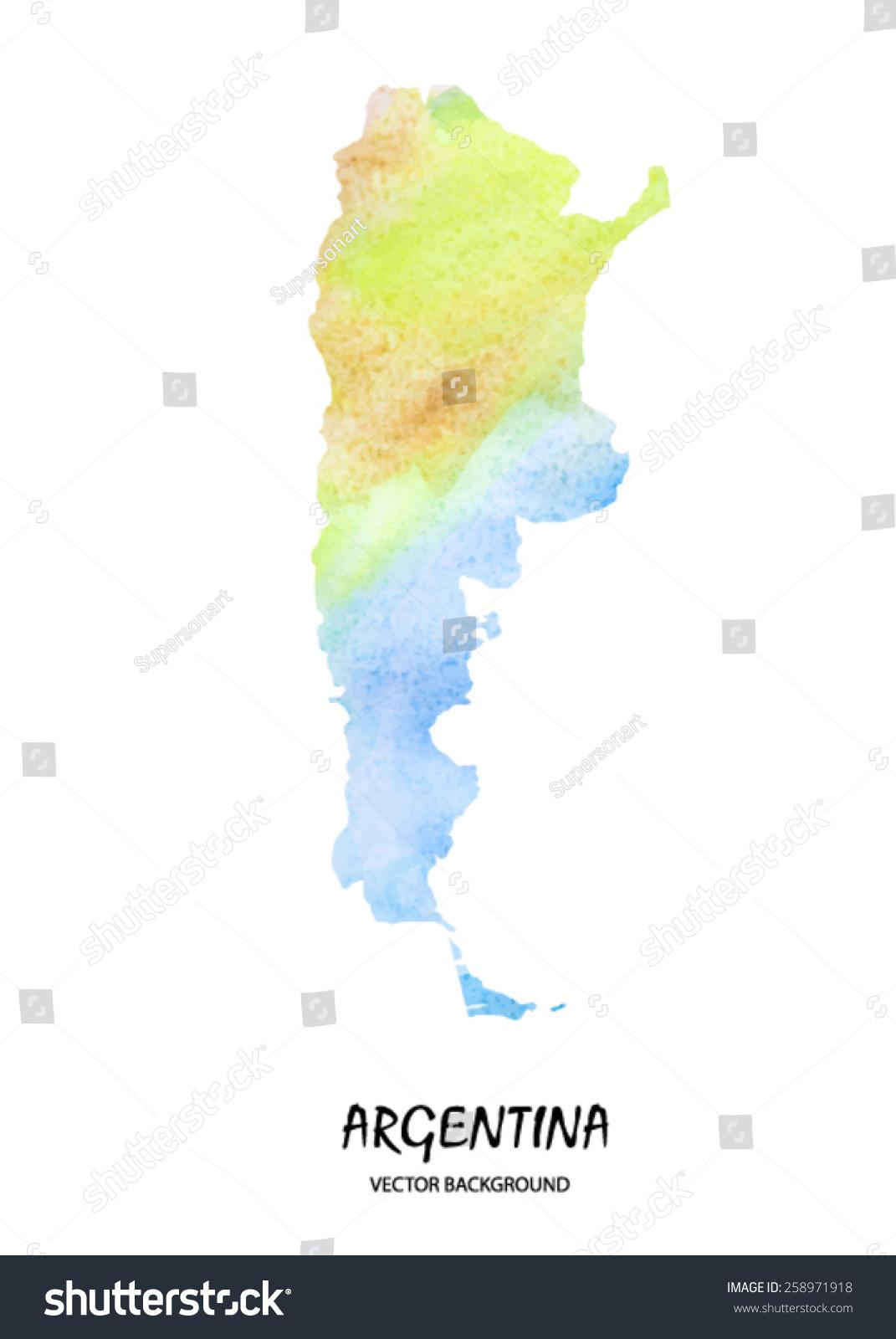 手绘水彩地图阿根廷孤立在白色的.向量的版本-艺术