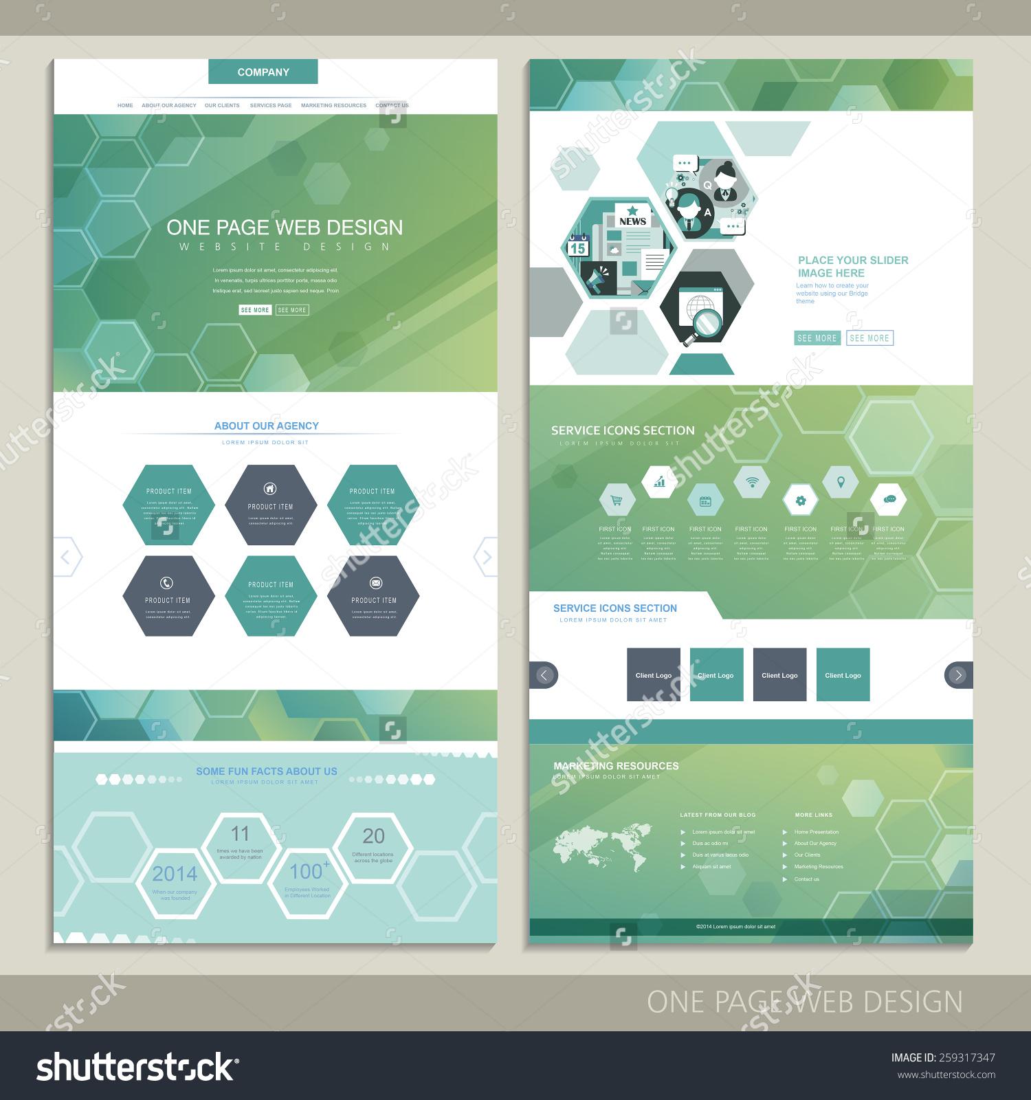 一页网站设计与六边形元素高科技概念-科技,抽象-海洛